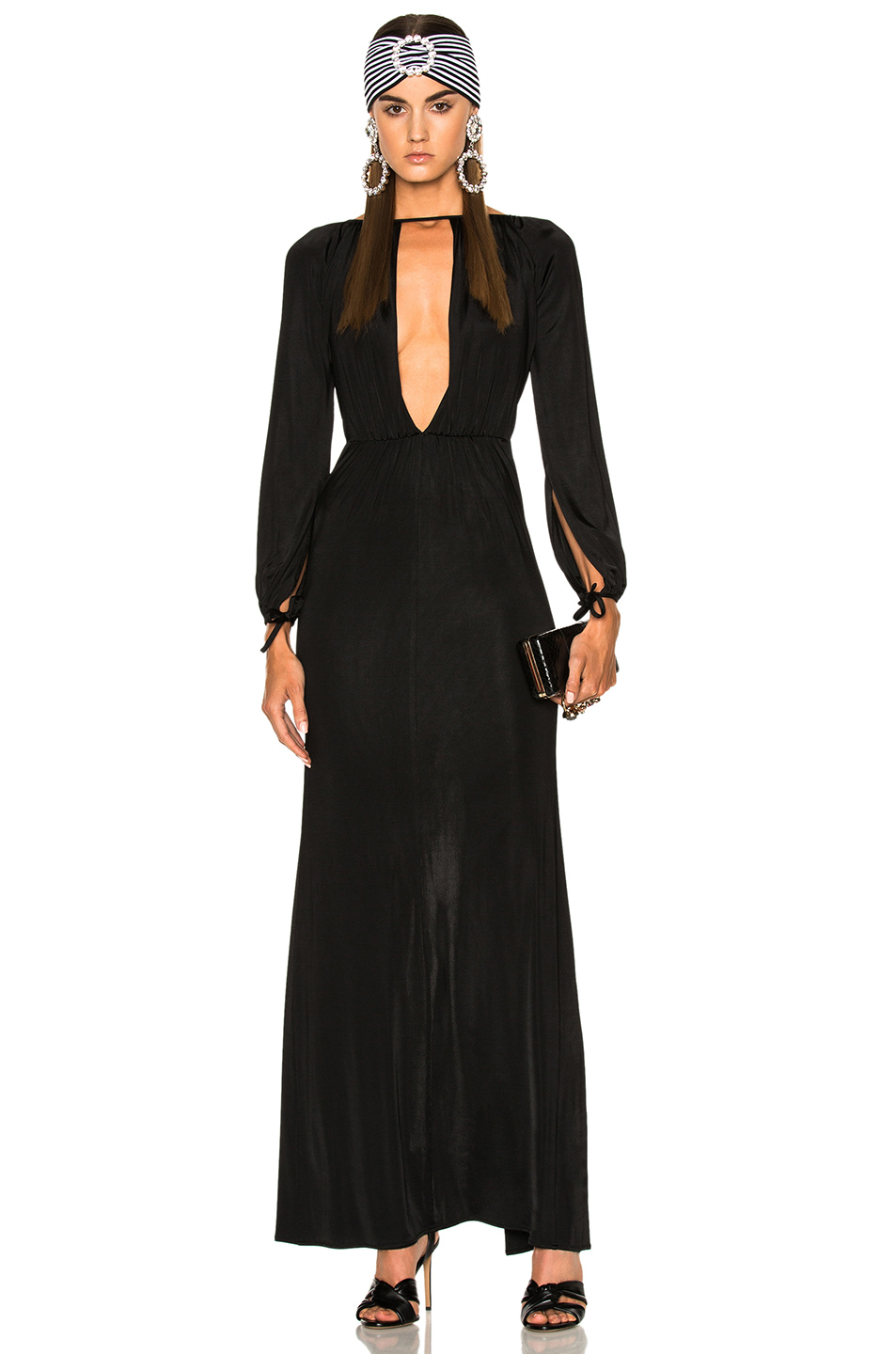 Alessandra Rich Jersey Deep V Gown in Black