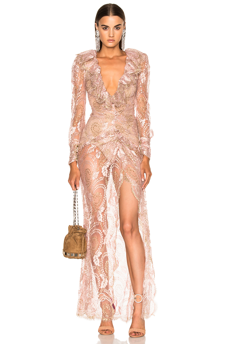 Alessandra Rich Lace Dress in Pink