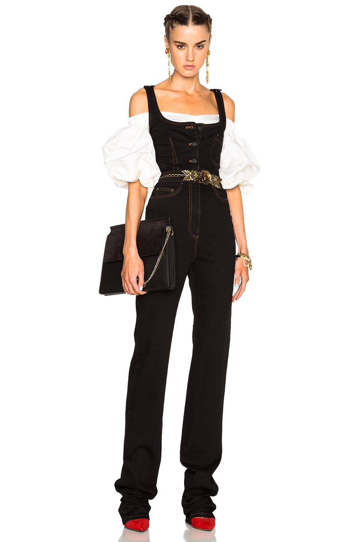 Alessandra Rich Denim Jumpsuit in Black