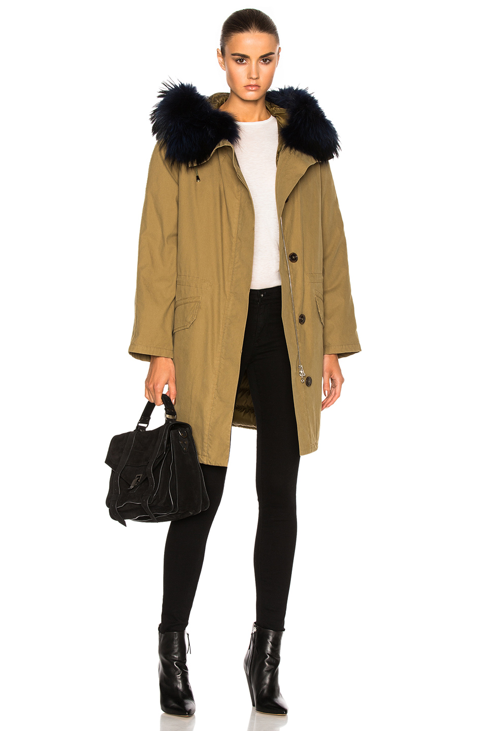 Army by Yves Salomon Classic Cotton Parka Jacket With Racoon Fur in Green