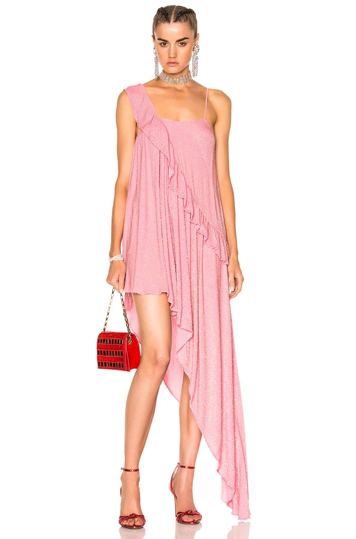 Ashish Beaded Asymmetrical Ruffle Dress in Pink