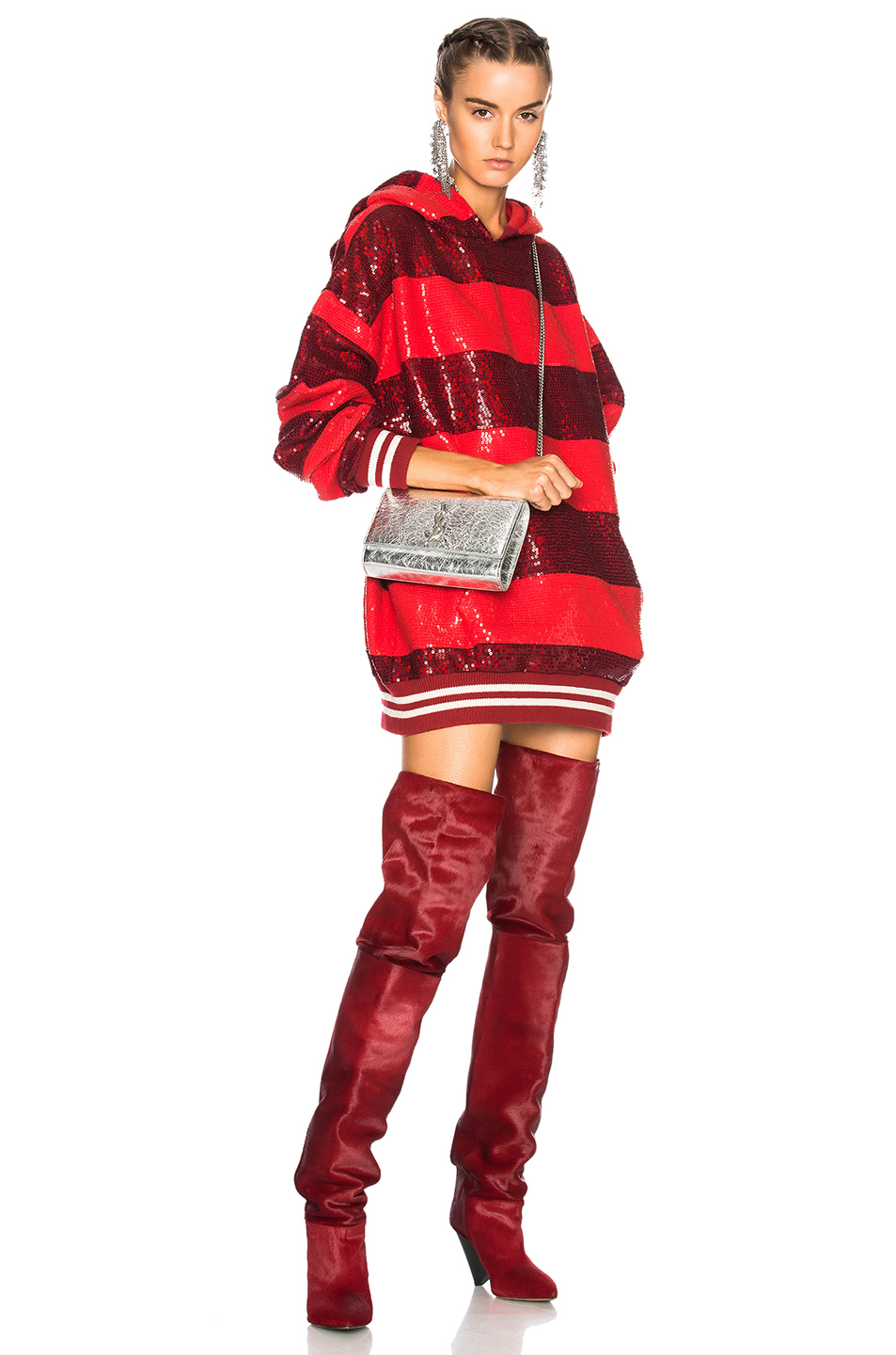 Ashish Sequin Rugby Oversized Sweatshirt Dress in Red,Stripes