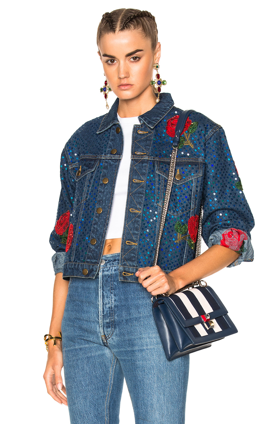 Ashish Denim Jacket with Rose Embroidery in Blue