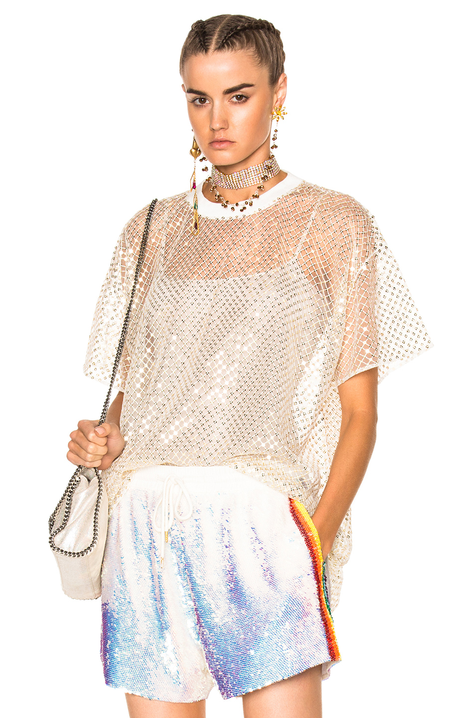 Ashish Oversized Net T-Shirt With Stardust in Metallics,White
