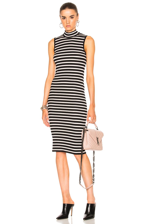 ATM Anthony Thomas Melillo Sleeveless Stripe Dress in Black,Pink,Stripes