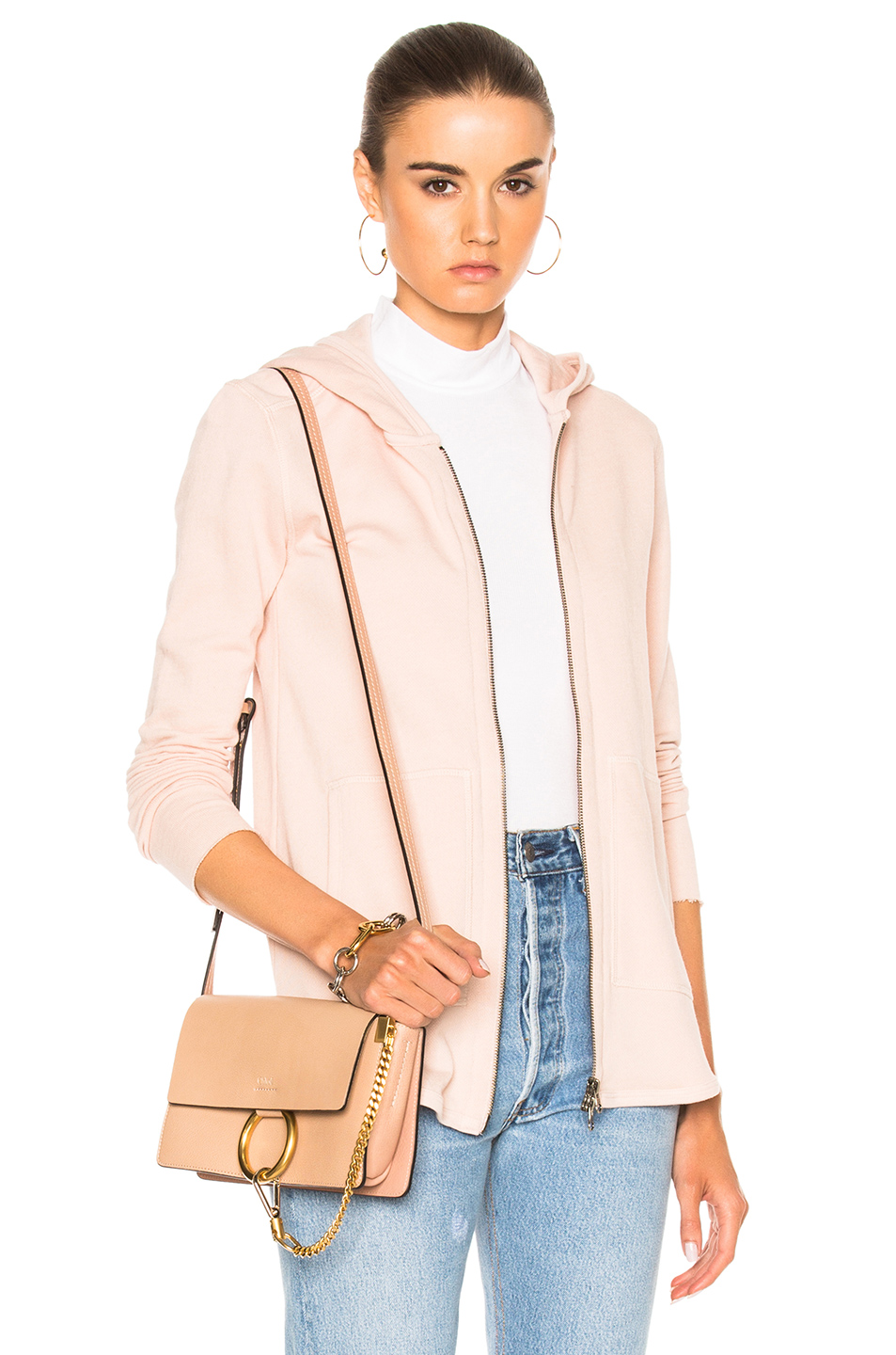 ATM Anthony Thomas Melillo French Terry Zip Front Jacket in Neutrals,Pink