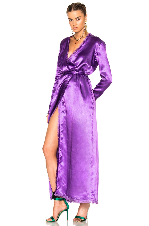 ATTICO Raquel Satin Dress in Purple