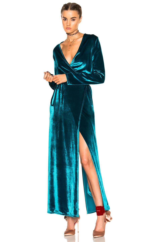 ATTICO Raquel Velvet Dress in Green