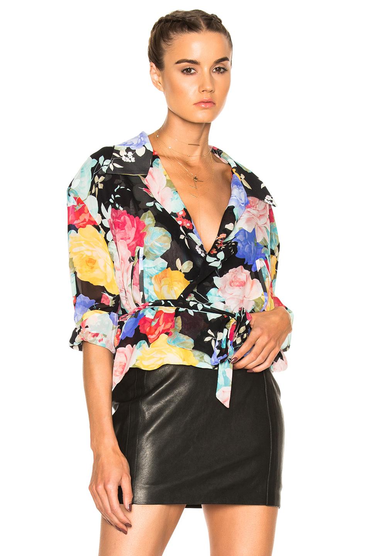 ATTICO Andrea Top in Black,Floral,Pink,Yellow