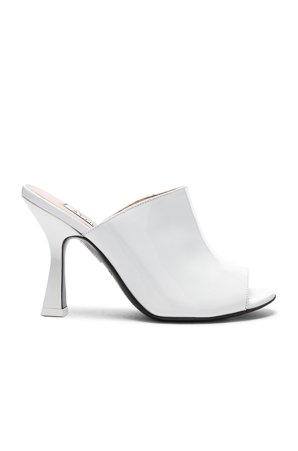 ATTICO Patent Leather Tomaia Slide Heels in White