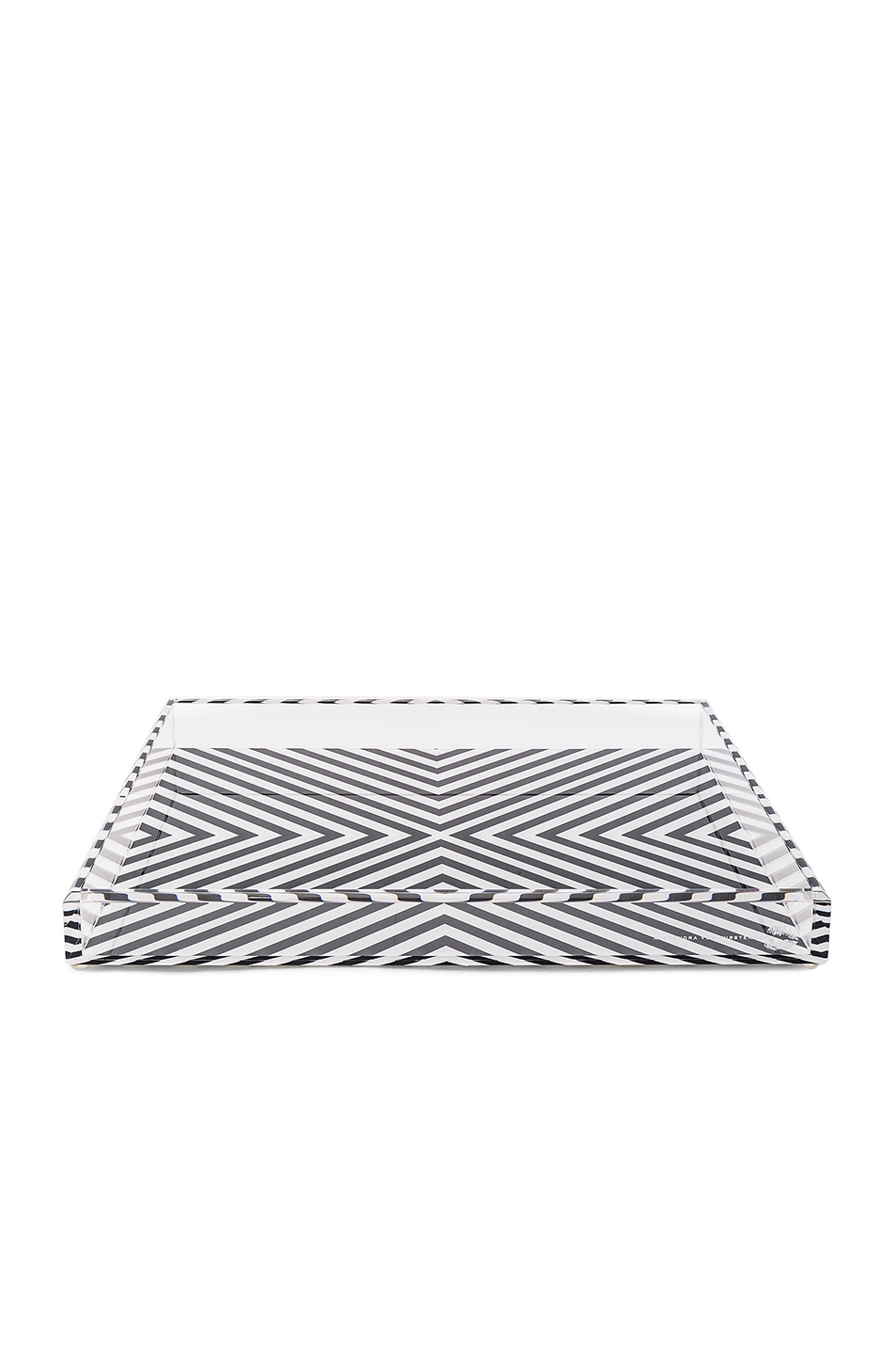 Alexandra Von Furstenberg Cocktail Accent Tray in Black,White,Geometric Print