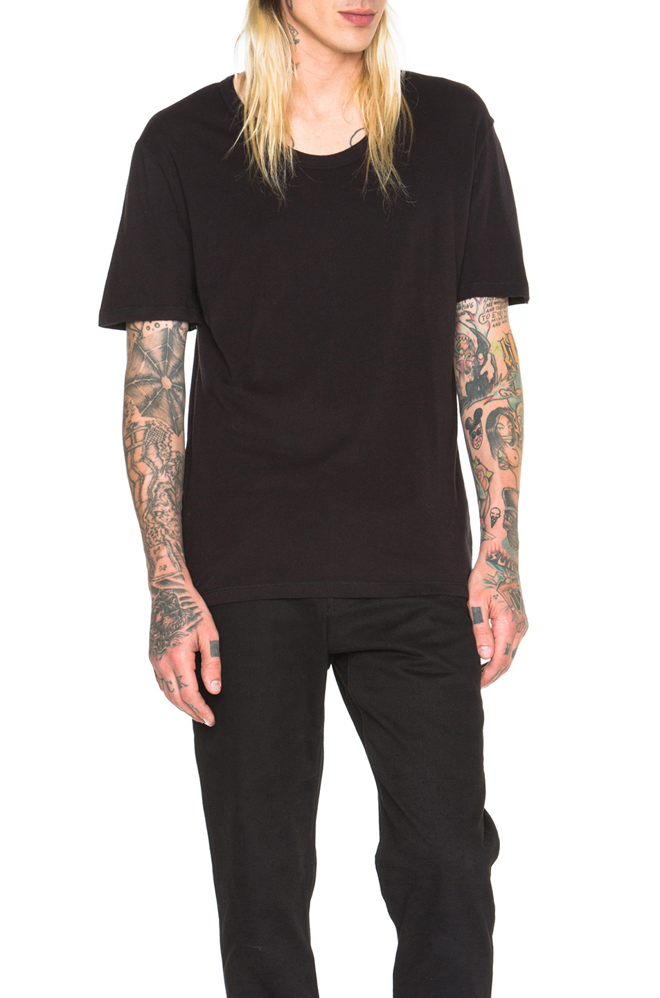 Alexander Wang Classic Low Neck Tee in Black