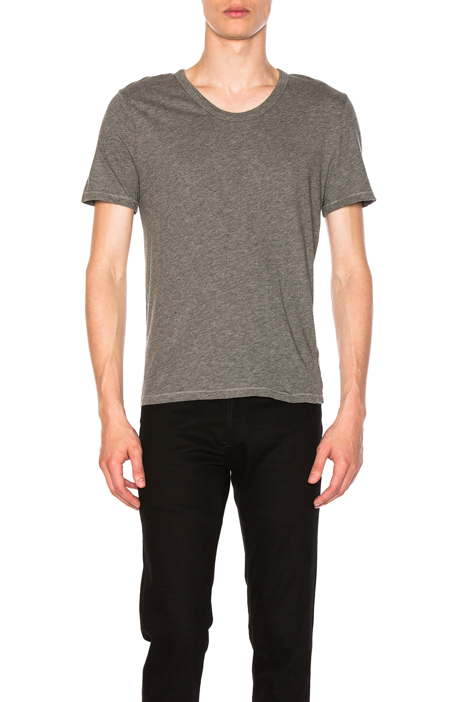 Alexander Wang Classic Low Neck Tee in Gray