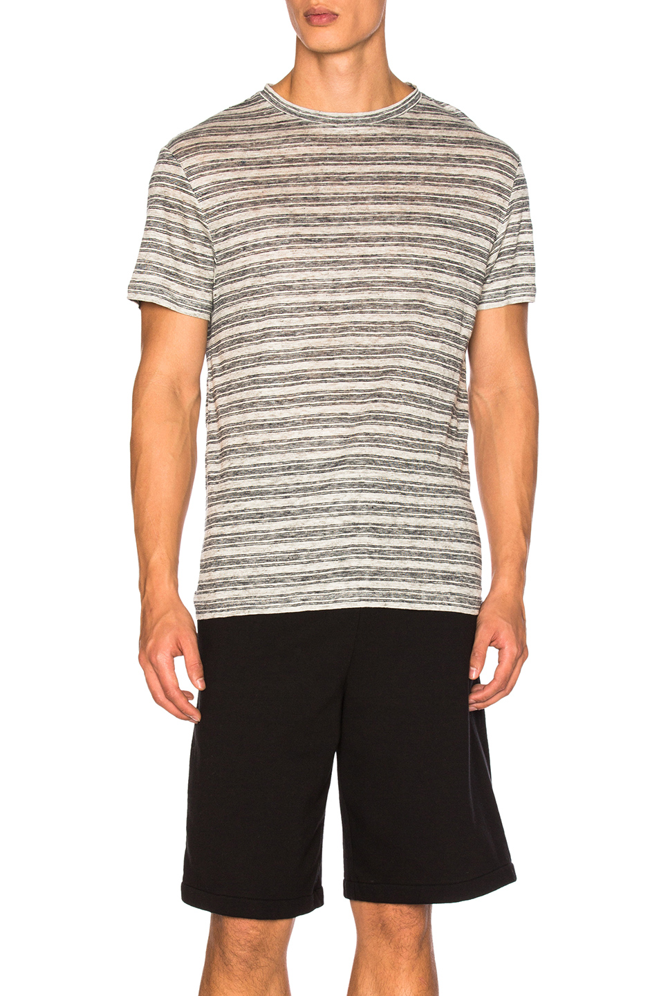 Alexander Wang Rib Insert Tee in Gray,Stripes