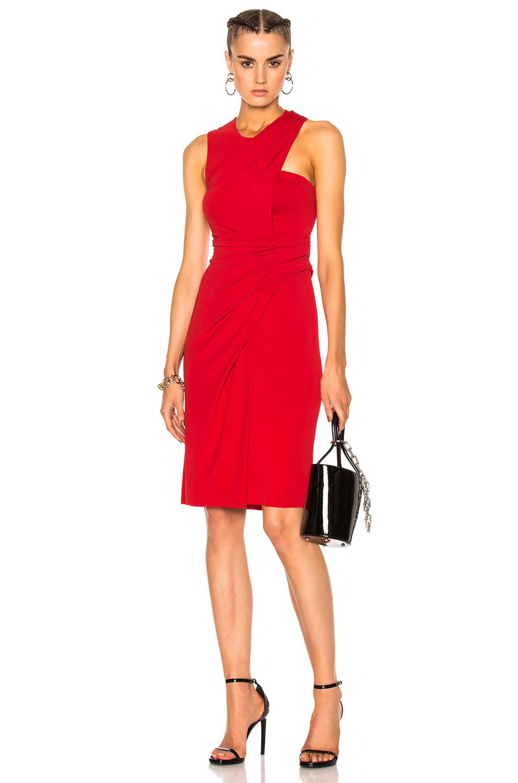 Alexander Wang Asymmetric Draped Midi Dress in Red