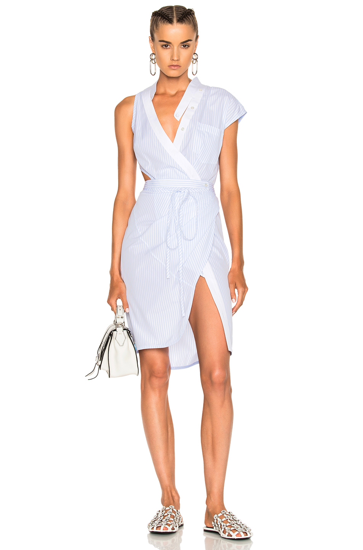 Alexander Wang Asymmetric Deconstructed Shirt Wrap Dress in Blue,White,Stripes