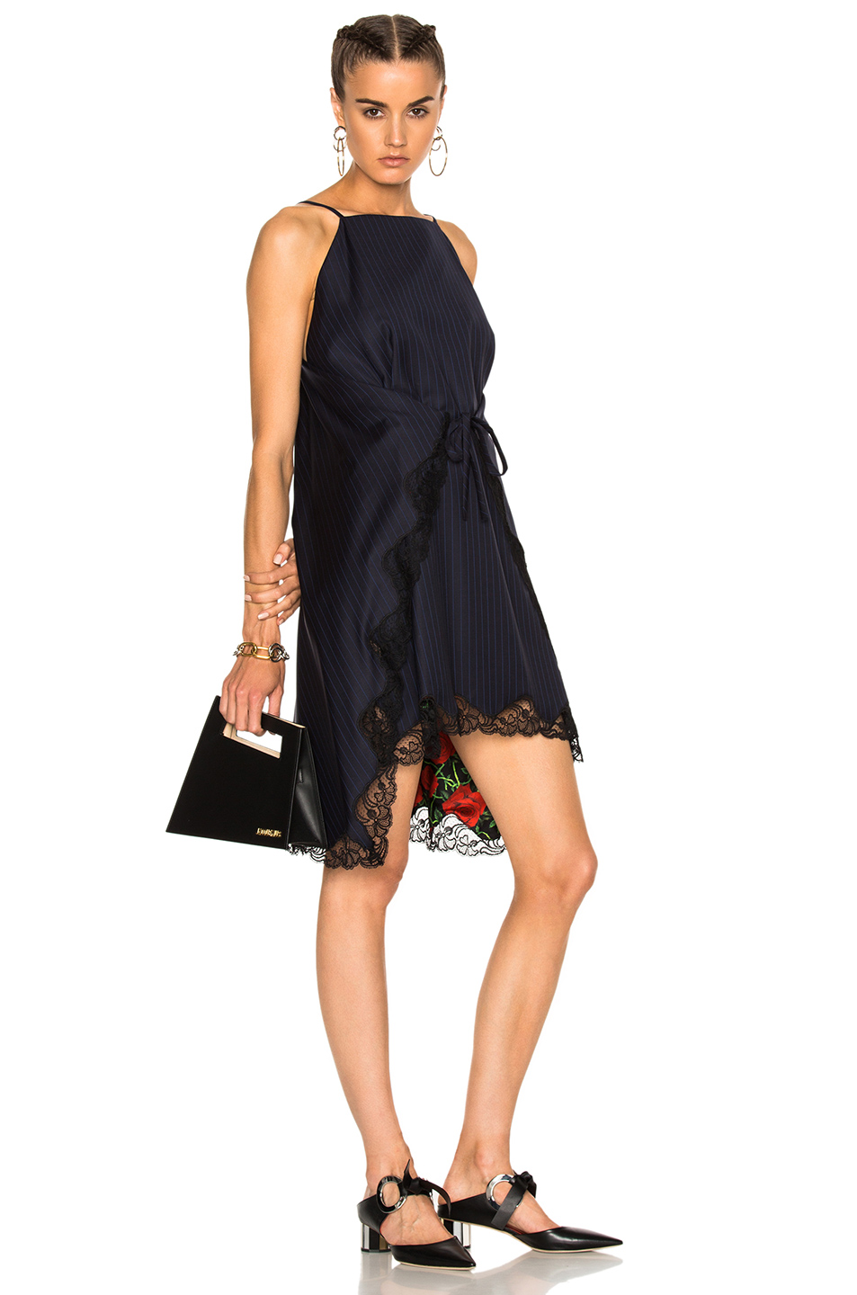 Photo of Alexander Wang Flared A-Line Apron Dress in Black,Blue,Floral,Stripes online sales