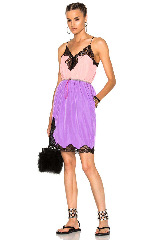Alexander Wang V-Neck Slip Dress in Pink,Purple