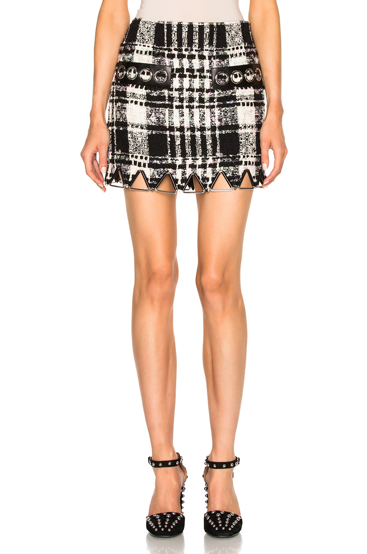 Alexander Wang Mini Triangle Hem Skirt in Black,Checkered & Plaid