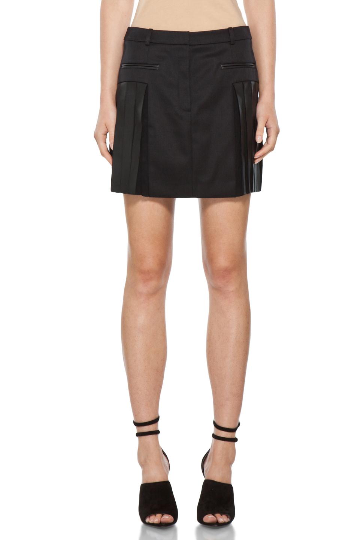 wang pleated mini skirt in black in black fwrd