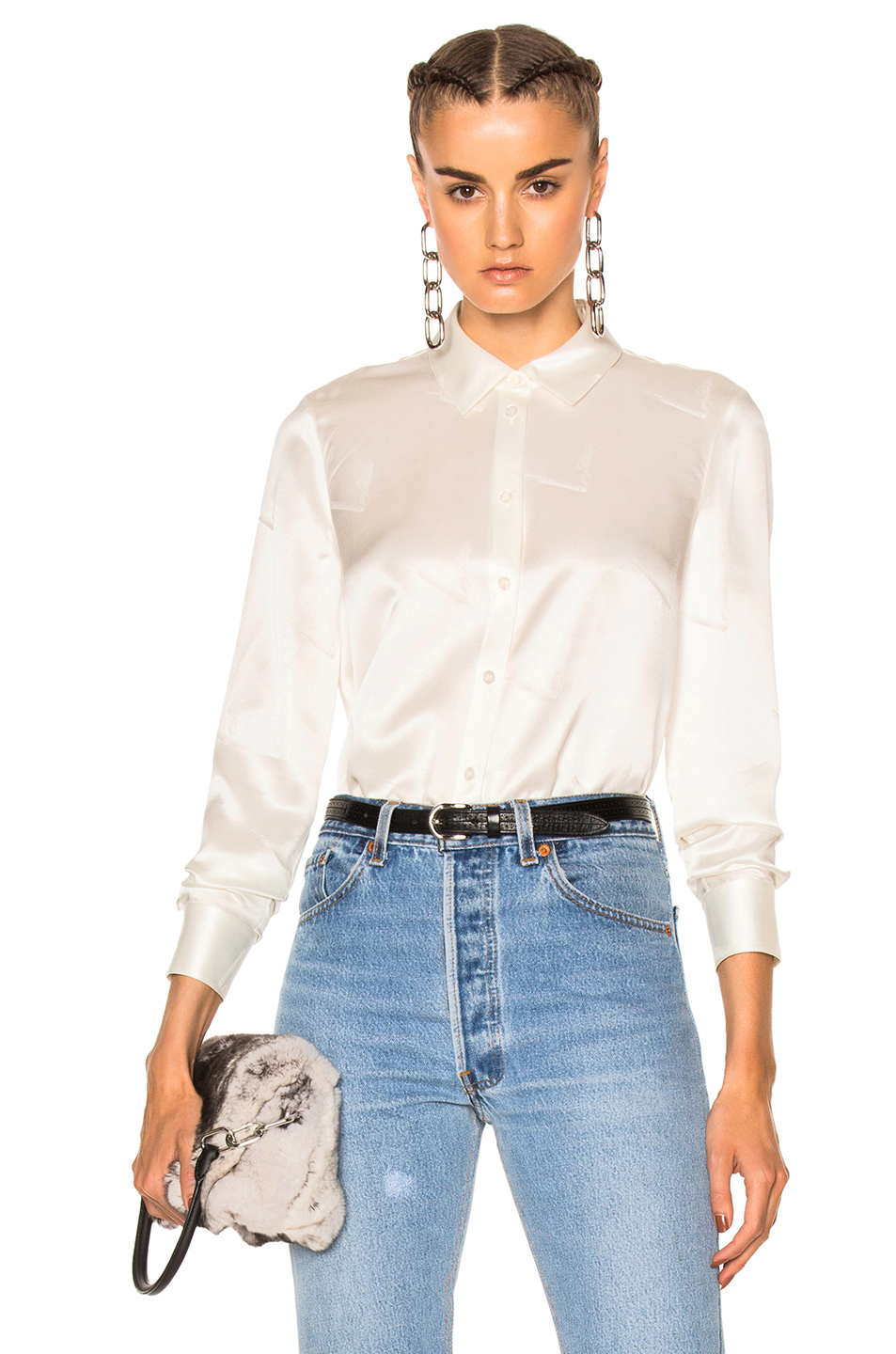 Alexander Wang Straight Cut Button Down Top in White