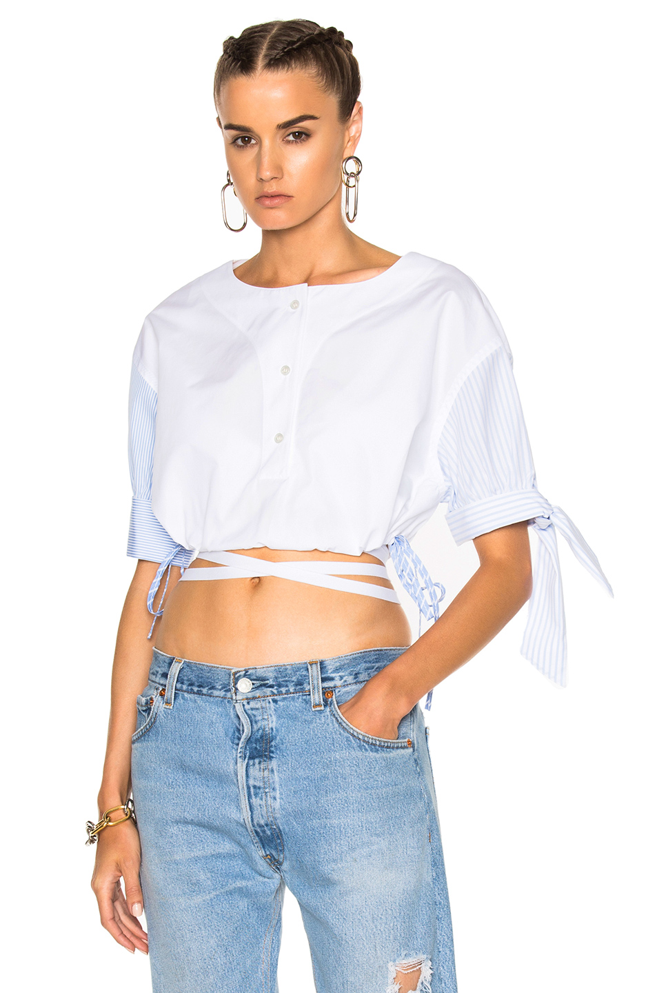 Alexander Wang Short Sleeve Cropped Shirt in Blue,Stripes,White