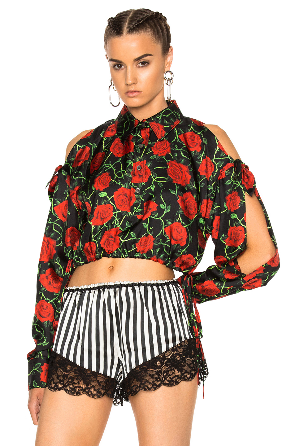 Alexander Wang Cropped Oversized Men's Shirt in Black,Floral
