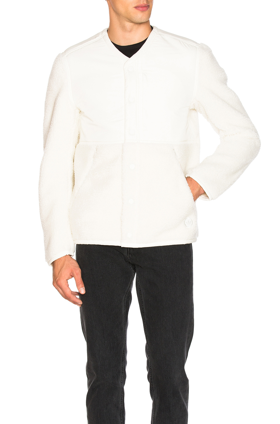 Photo of adidas by wings + horns Faux Shearling Jacket in White - shop adidas by wings + horns menswear