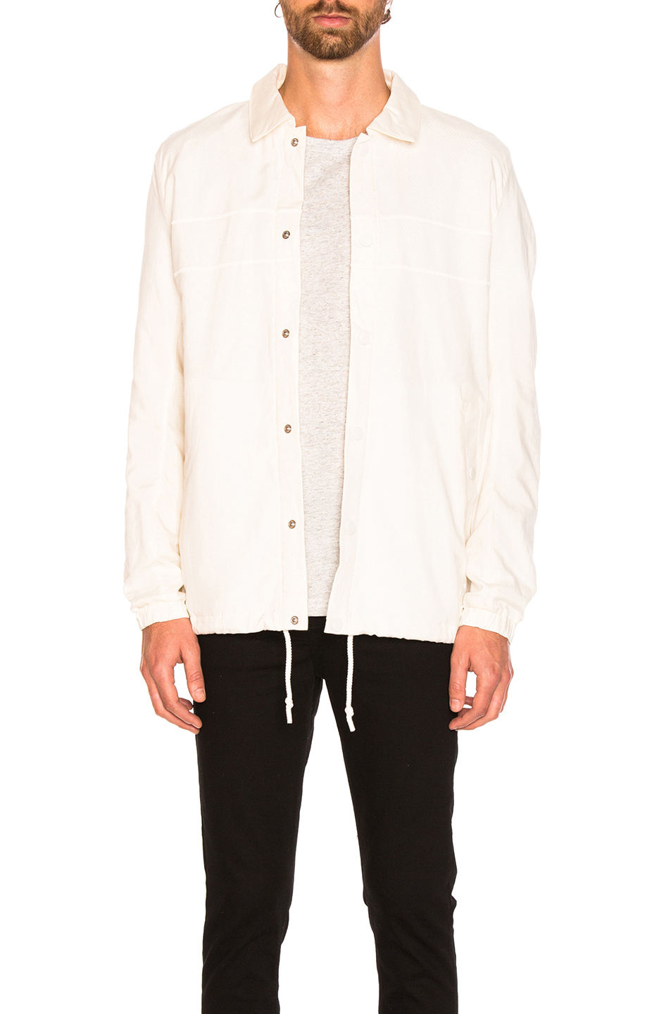 adidas by wings + horns Linen Coach Jacket in White