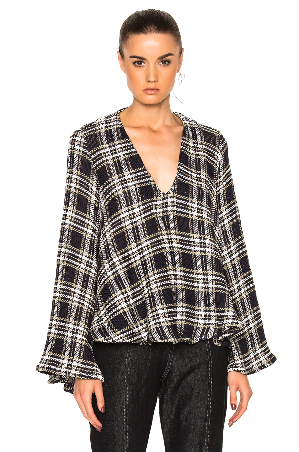 Beaufille Calypso Sweater in Blue,Checkered & Plaid,White
