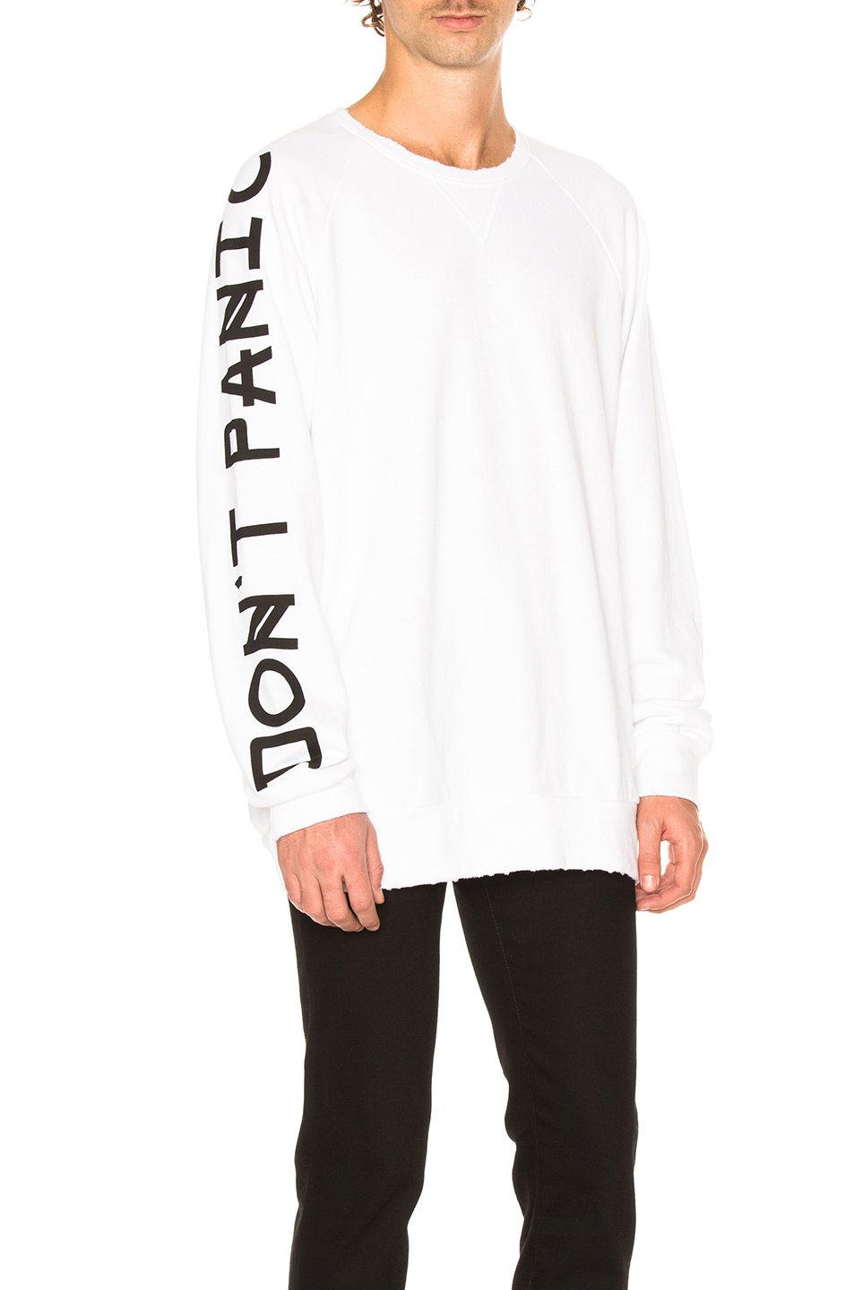 Baja East Don't Panic French Terry Sweatshirt in White