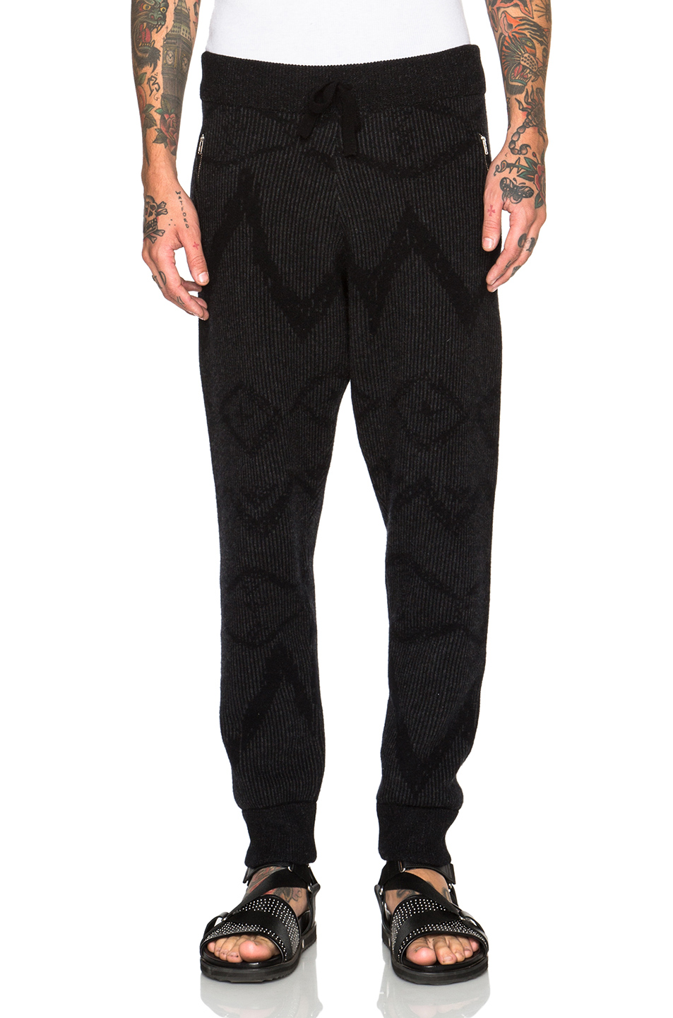 Photo of Baja East Cashmere Ikat Graffiti Sweatpants in Gray,Black - shop Baja East menswear