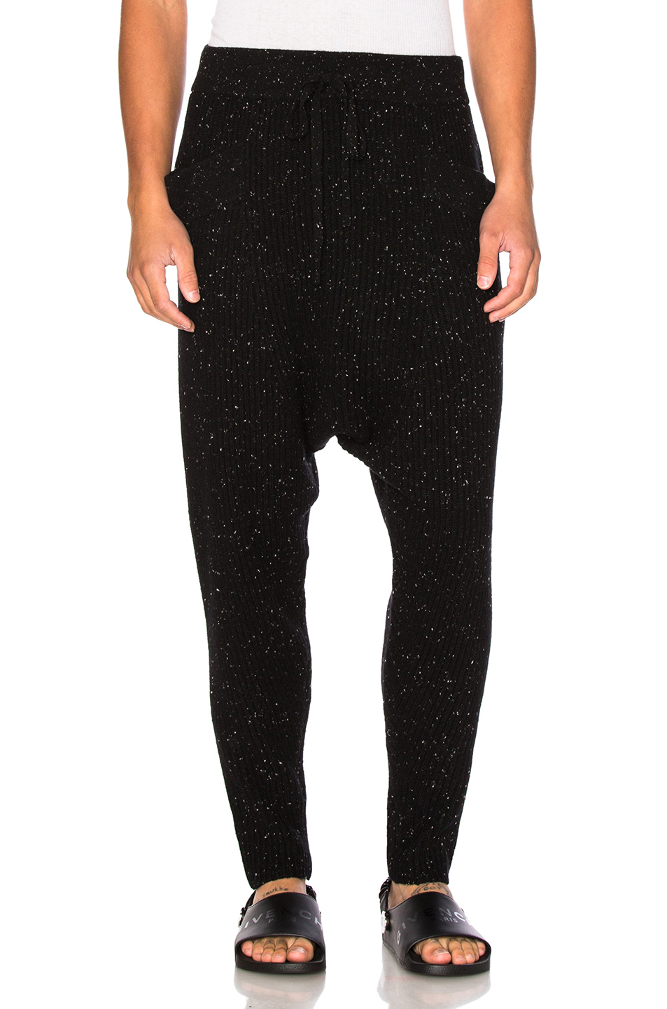 Baja East Cashmere Fisherman Rib Pants in Black