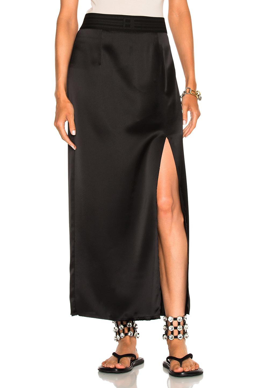Baja East Satin Back Crepe Skirt in Black