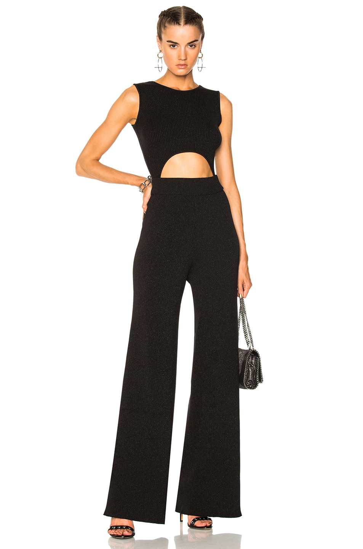 Baja East Cotton Lurex Rib Knit Cutout Jumpsuit in Black