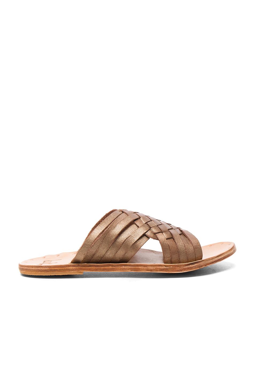 Beek Leather Swallow Sandals in Metallics,Brown