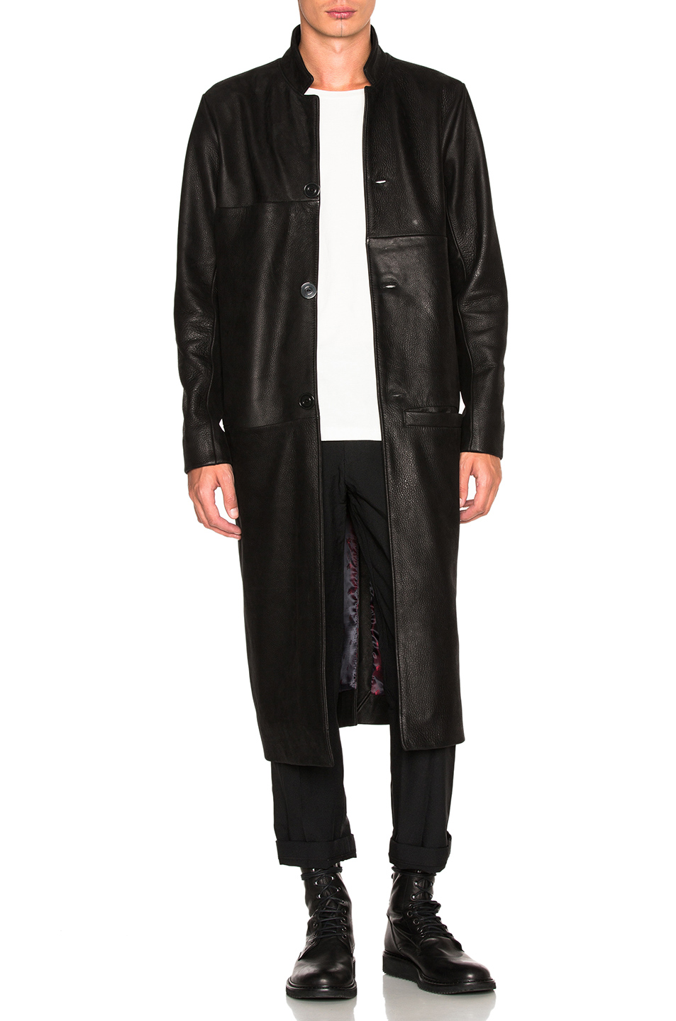 Blackfist Leather Trench in Black