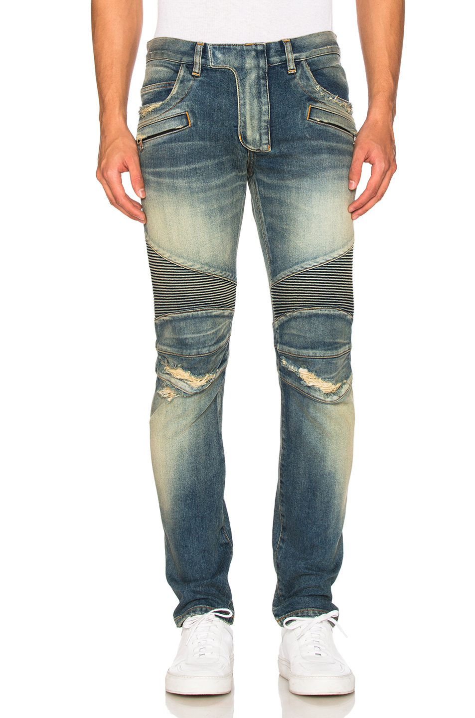 Photo of BALMAIN Biker Stretch Jeans in Blue - shop BALMAIN menswear