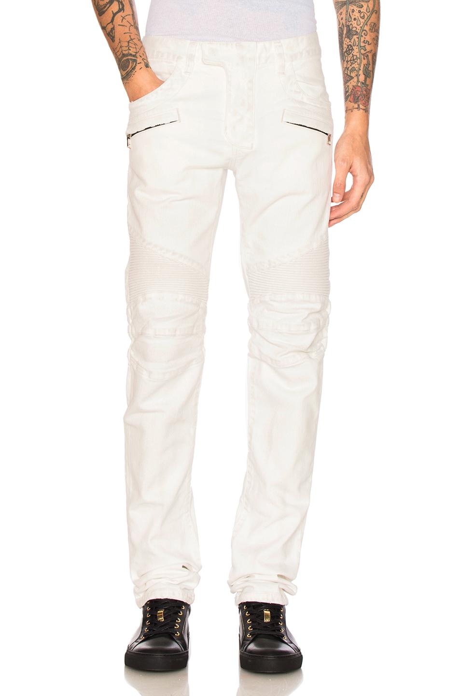 BALMAIN Biker Jeans in White