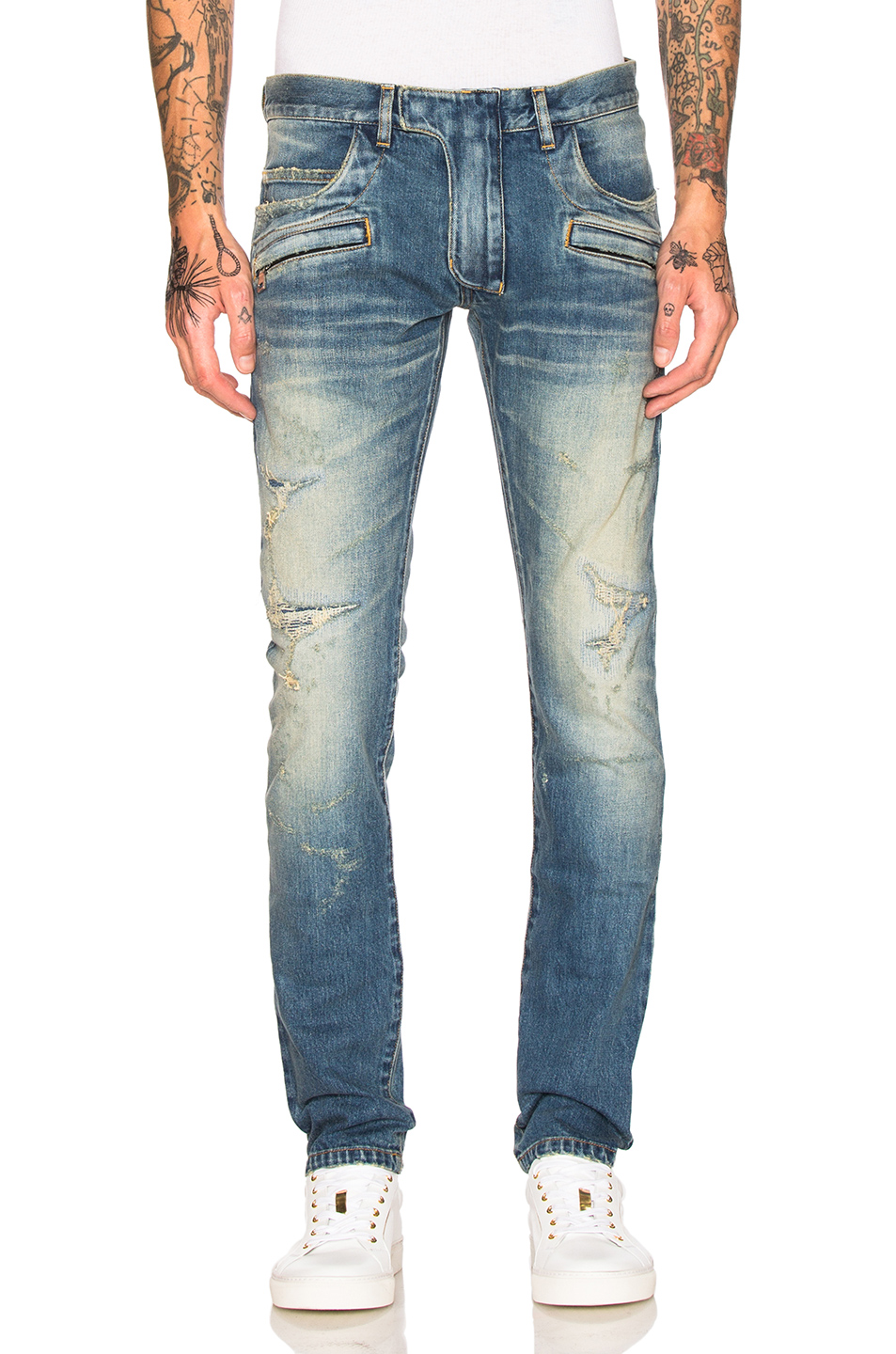 BALMAIN 5 Pocket Jeans in Blue