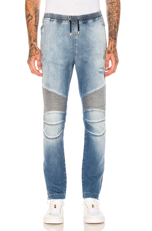 BALMAIN Elastic Waist Jeans in Blue