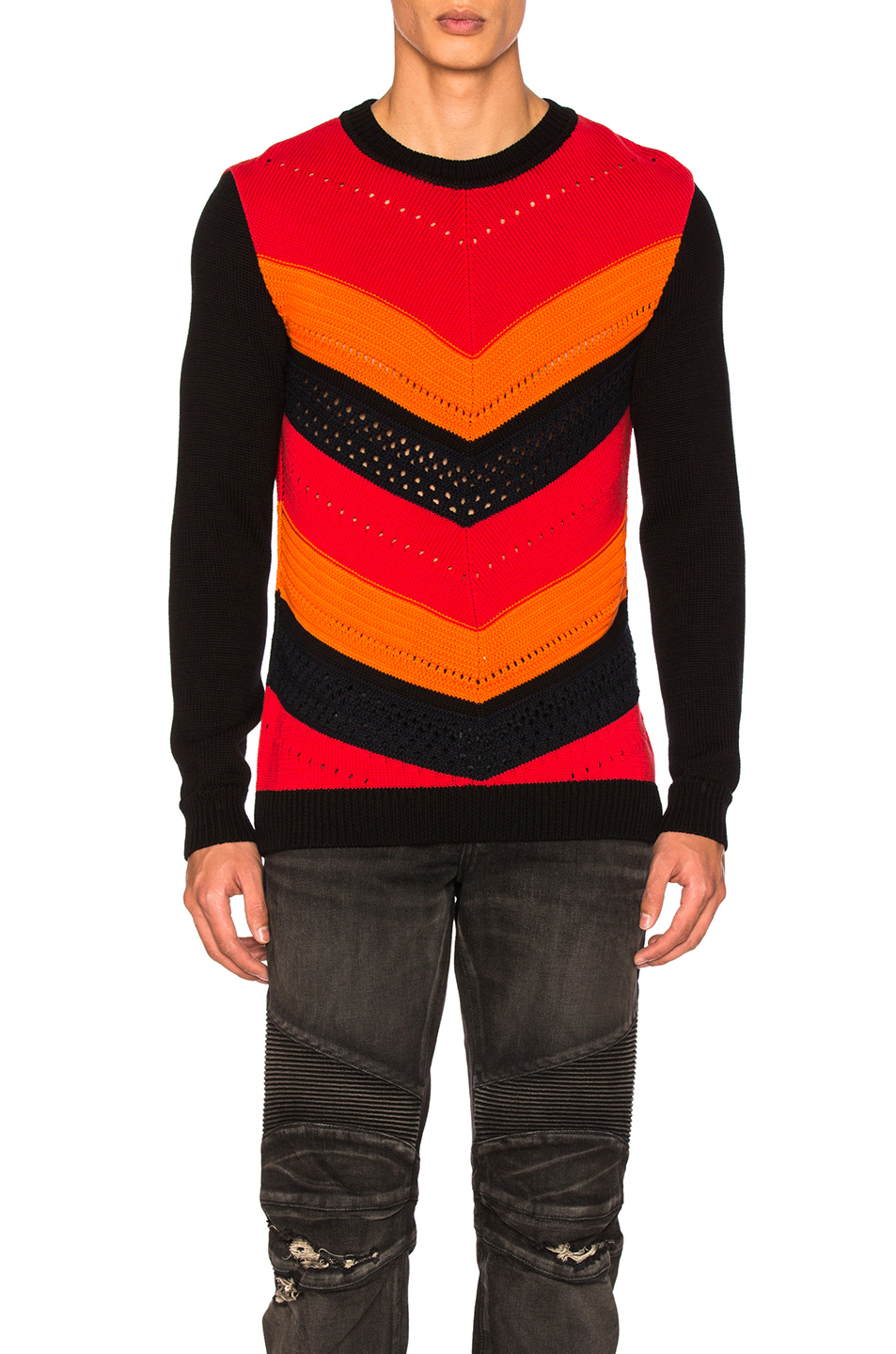 BALMAIN Chevron Sweater in Red,Black,Orange,Stripes