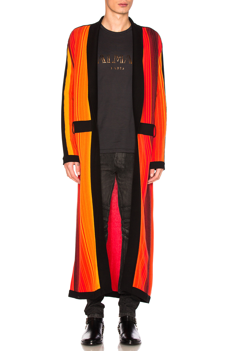 BALMAIN Striped Robe Sweater in Orange,Stripes