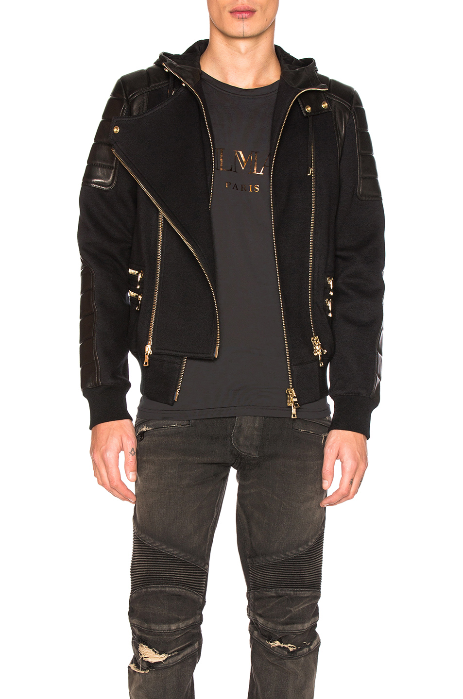 BALMAIN Bi Material Jacket in Black