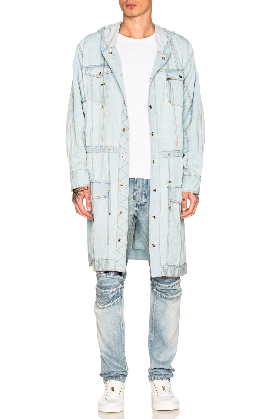 BALMAIN Denim Parka in Blue