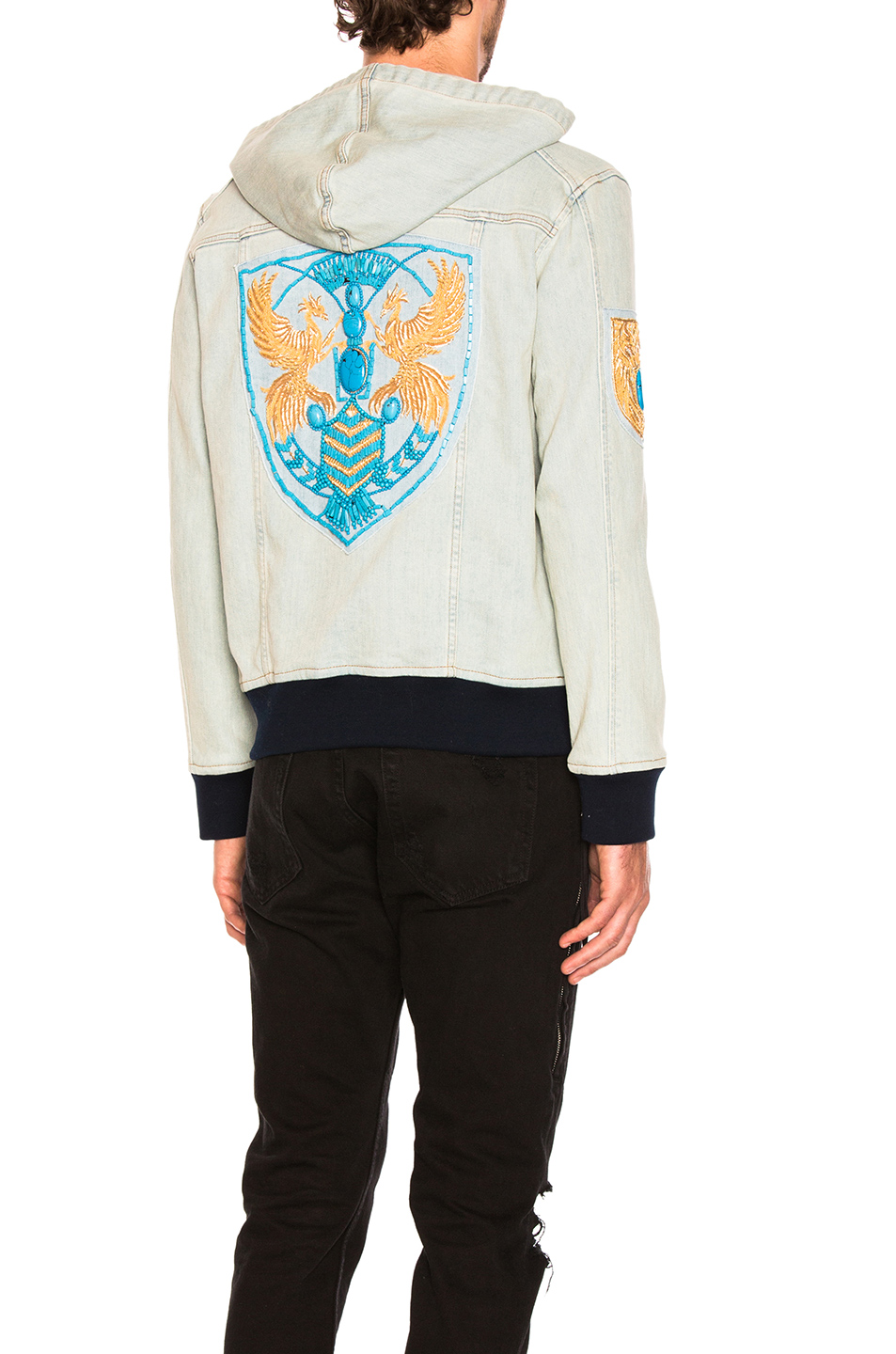 BALMAIN Badge Denim Jacket in Blue