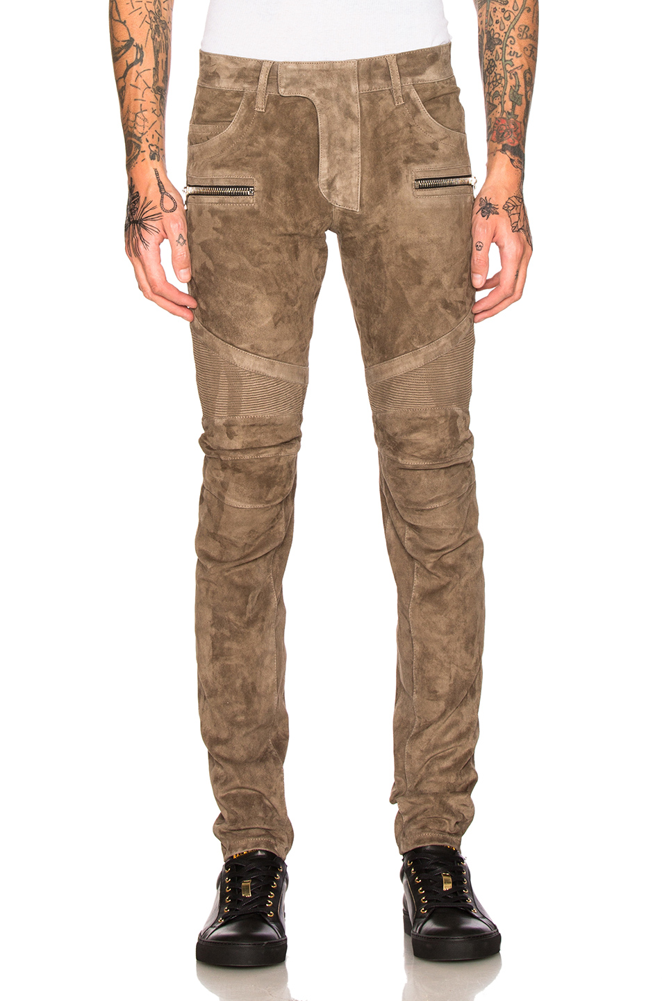 BALMAIN Suede Biker Pants in Brown