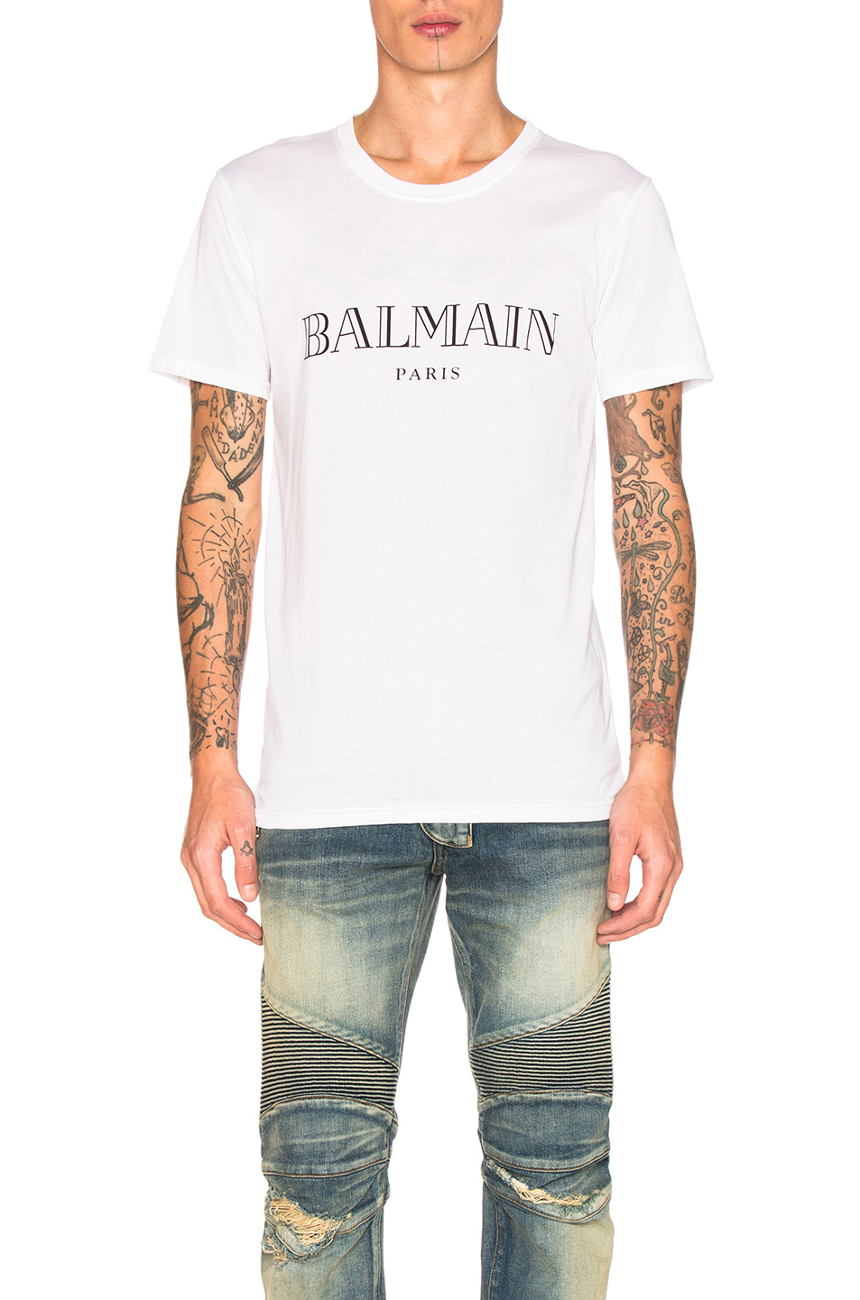 Photo of BALMAIN Logo Tee in White - shop BALMAIN menswear