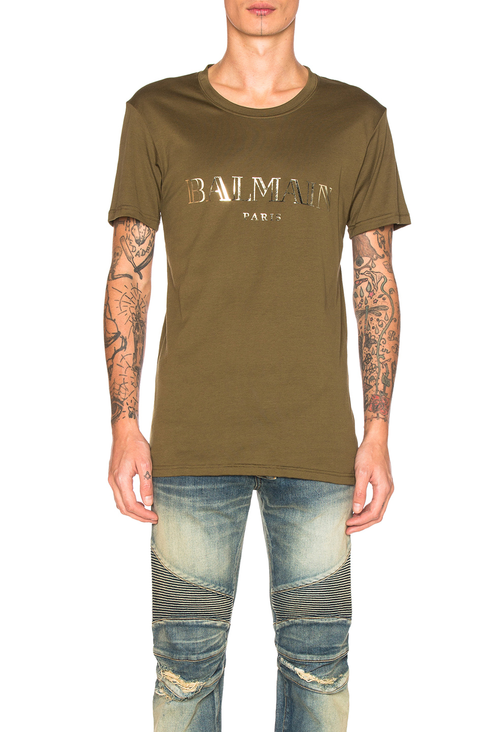 BALMAIN Logo Tee in Green