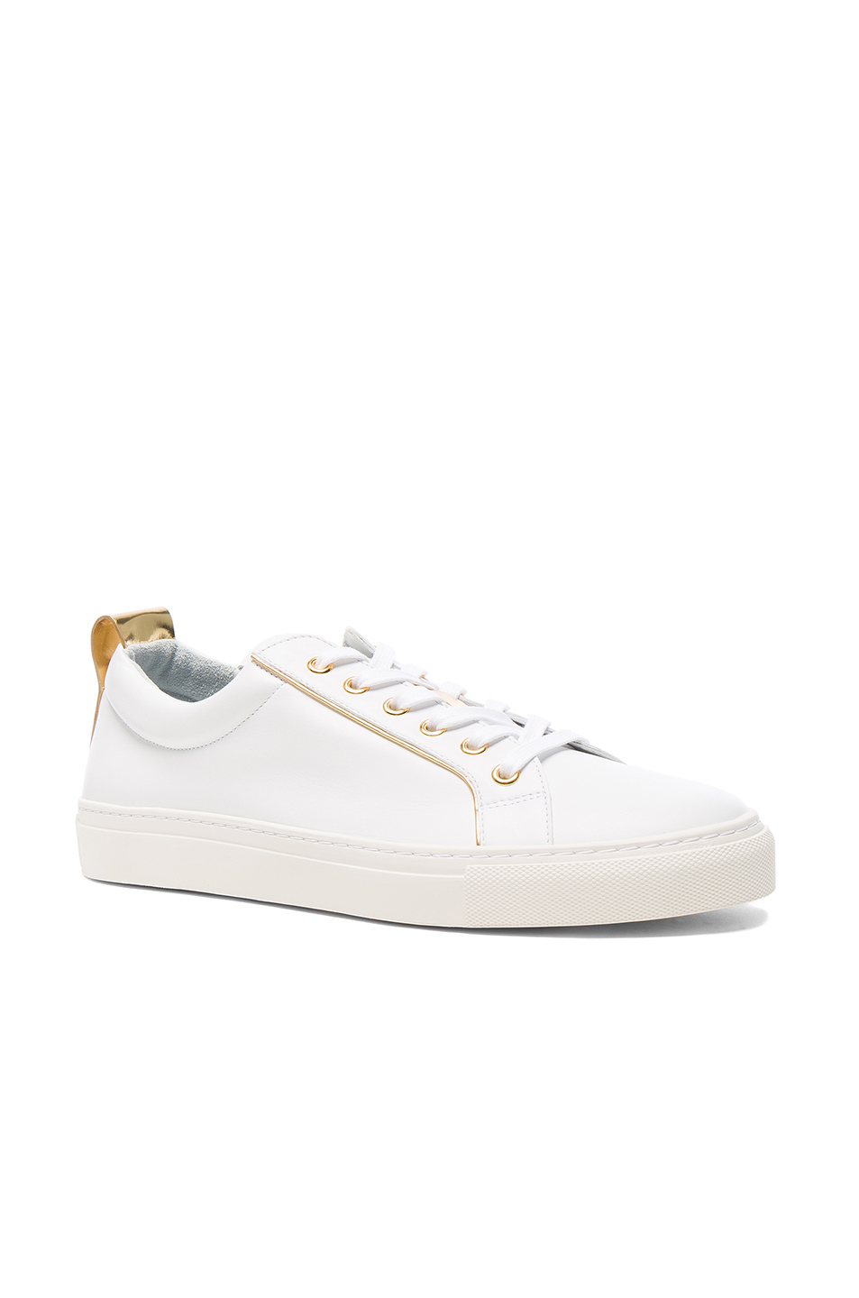 BALMAIN Gold Piping Sneakers in White
